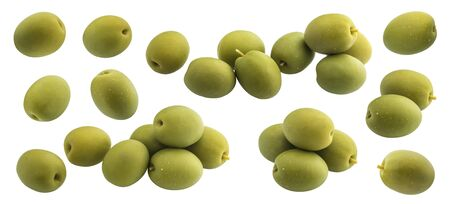 Olives collection, green olive isolated on white background with clipping path, close up