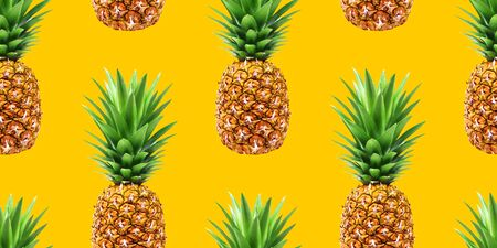 Pineapple, summer seamless pattern on yellow background