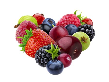 Heart shape made of different forest berries isolated on white background Reklamní fotografie