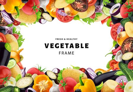 Frame made of different vegetables, herbs and spices, with copy space