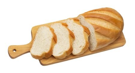 Sliced white bread isolated on white background 스톡 콘텐츠