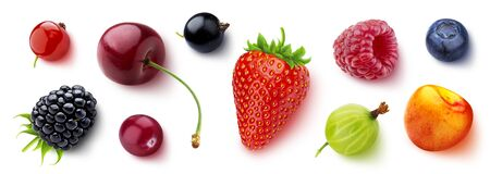 Assortment of different berries isolated on white background, flat lay, top view 스톡 콘텐츠
