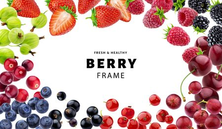 Frame made of different berries isolated on white background