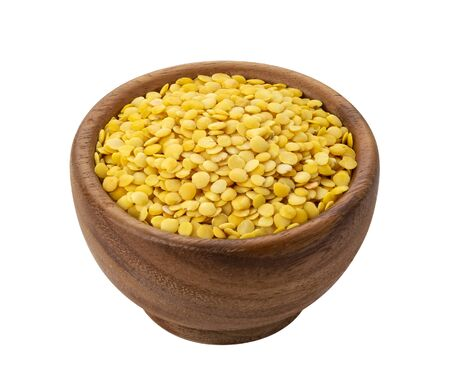 Yellow lentils isolated on white background Zdjęcie Seryjne