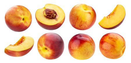 Peach collection isolated on white background