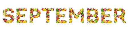September word made of tropical and exotic fruits
