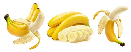 Banana isolated on white background with clipping path, whole and peeled open fruit, bunch of bananas and slices, collection Zdjęcie Seryjne