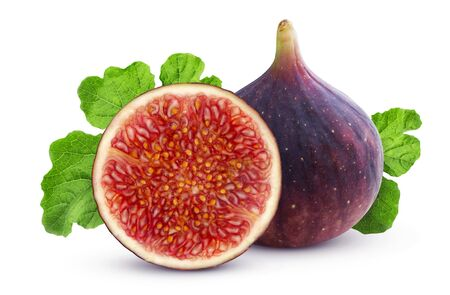 Fresh figs isolated on white background with clipping path, whole and half fruit with leaves Reklamní fotografie