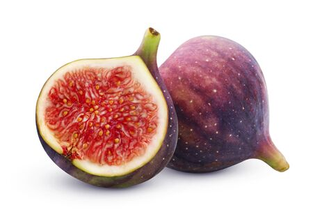 Fresh figs isolated on white background with clipping path, whole and half fruit