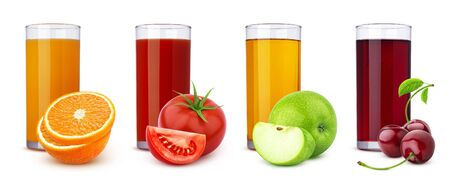 Glasses of different juices and pile of fruits and berries isolated on white background, collection of fresh orange, tomato, apple and cherry cocktails