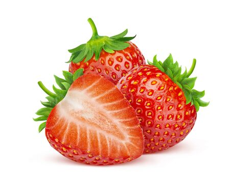 Strawberry fruit, three strawberries isolated on white background with clipping path