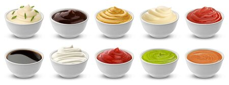 Collection of different sauces isolated on white background with clipping path, ketchup, sour cream and mustard in ceramic gravy boat, japanese soy sauce, mayonnaise and barbecue dressing