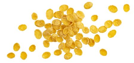 Top view of corn flakes. Heap of traditional breakfast cereals isolated, falling cornflakes on white background, with clipping path Reklamní fotografie