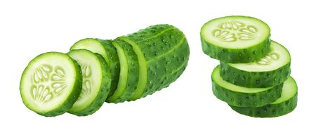 Sliced cucumber isolated on white background with clipping path, fresh salad ingredient