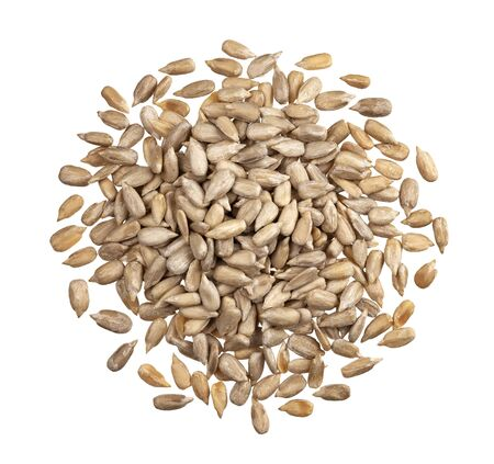 Pile of peeled sunflower seeds isolated on white background with clipping path, top view Reklamní fotografie