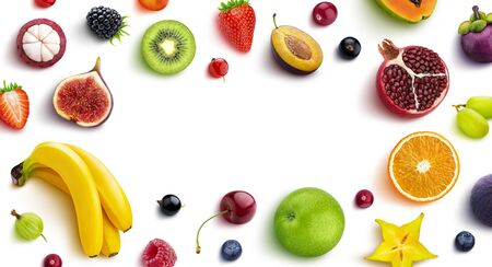 Frame made of different fruits and berries, flat lay, top view