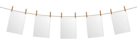 Empty paper sheet hanging on rope, isolated on white background, poster template 스톡 콘텐츠