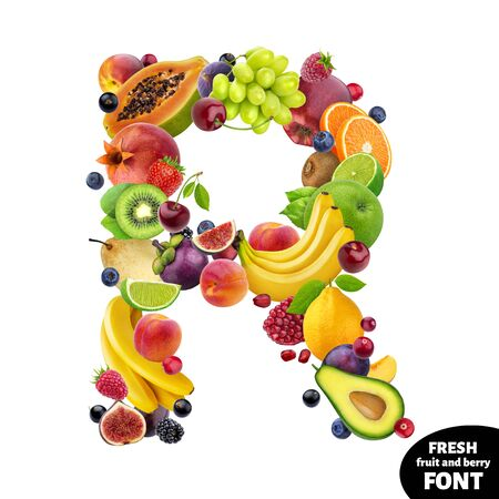 Letter R made of berries and fruits, food alphabet isolated on white background