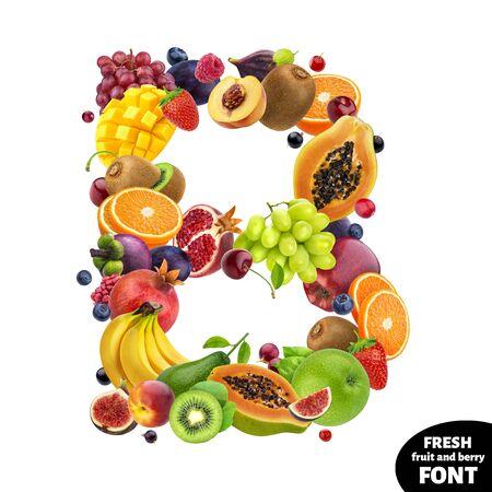 Letter B, fruit font symbol isolated on white background