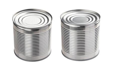 Aluminum tin cans isolated on white background