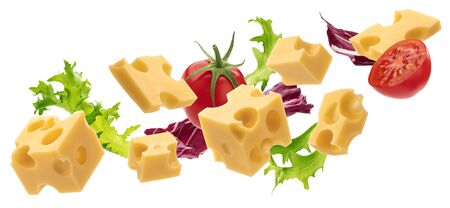 Set of cheese cubes, pieces of swiss emmental isolated on white background