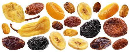 Collection of dried fruits isolated on white background