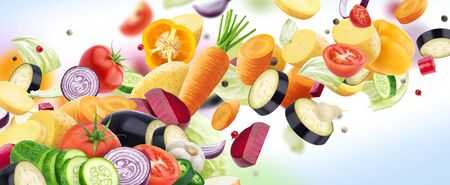 Falling mix of different vegetables, potatoes, cabbage, carrots, beets and onion with herbs and spices isolated on white background with copy space Stockfoto