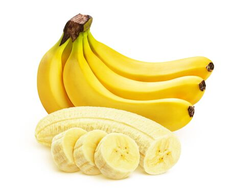 Banana isolated on white background, whole and sliced Foto de archivo