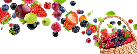 Fresh berries flying into wicker basket, isolated on white background