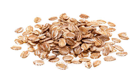 Pile of oat rye flakes isolated on white background with clipping path, oatmeal close up