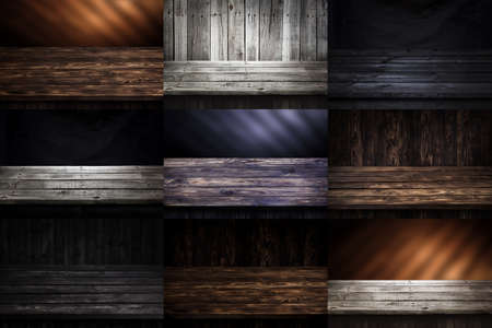 Dark wooden backgrounds collection, table for product, old wooden perspective interior. Natural timber texture, dark brown wall Stok Fotoğraf