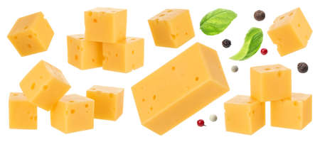 Collection of gouda cheese cubes isolated on white background Archivio Fotografico