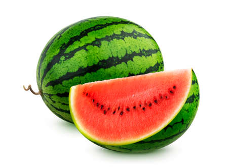 Watermelon isolated on white background, whole and sliced watermelons Standard-Bild