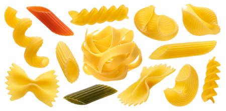Collection of different dry pasta types isolated on white background