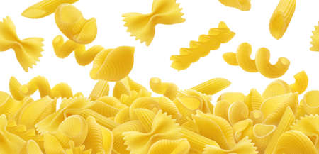 Pasta border, different raw pasta types falling over white background