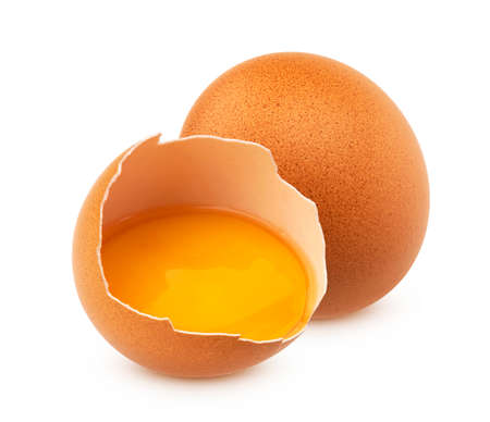 Chicken eggs isolated on white background Banque d'images