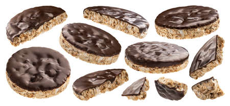 Chocolate rice cakes isolated on white background with clipping path