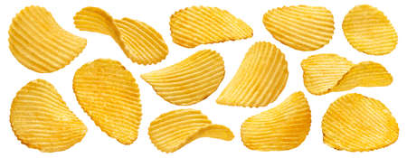 Ridged potato chips isolated on white background