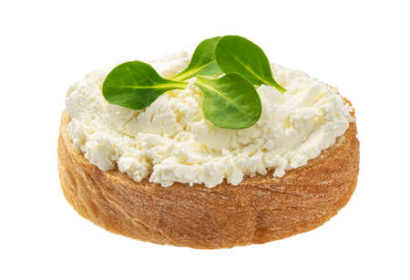 Bread with cream cheese isolated on white background Imagens