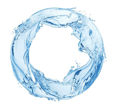 Circle water splash isolated on white background