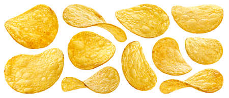 Natural potato chips isolated on white background