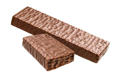 Waffle chocolate bar isolated on white background
