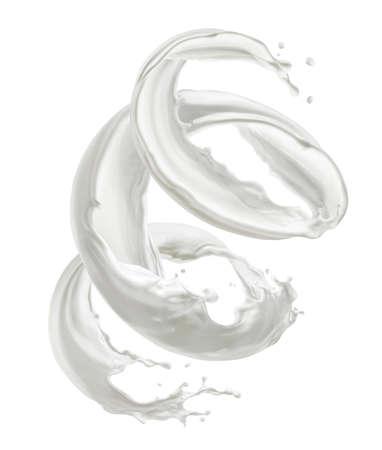 Milk splash, cream swirl isolated on white background