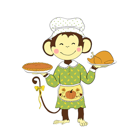 smile happy: Cartoon character for your design. One of a set: cute monkey - holidays all year round. Thanksgiving day. Monkey lady holding turkey and pumpkin pie.