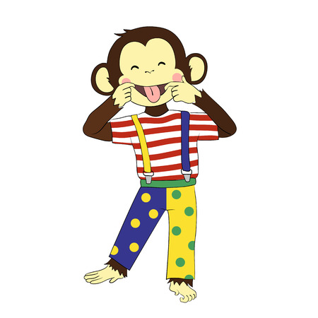 cartoon clown: Cartoon character for your design. One of a set: cute monkey - holidays all year round. Fools day. Monkey clown. Illustration