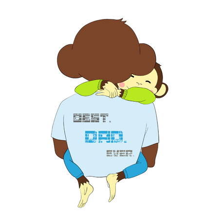 summer day: Cartoon character for your design. One of a set: cute monkey - holidays all year round. Fathers day. Monkey child hugging dad.