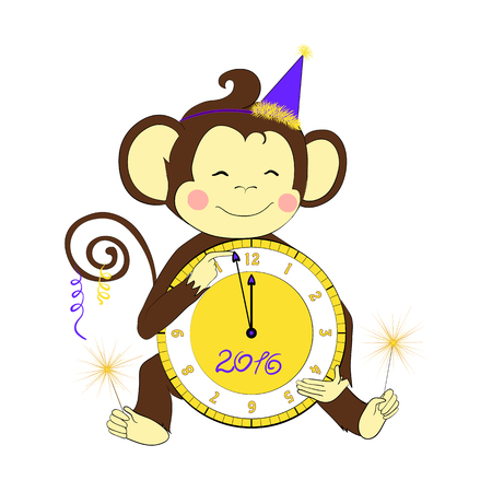 bengal light: Cartoon character for your design. One of a set: cute monkey - holidays all year round. New Year. Little monkey holding clock and sparklers.
