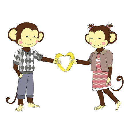 love cartoon: Cartoon character for your design. One of a set: cute monkey - holidays all year round. Valentines day. Pair of boy and girl monkeys in love.