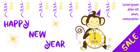 bengal light: New year sale banner design. One of a set - holidays banners. Can be used for banners or posters. Vector illustration with cute hand drawn monkey - symbol of 2016 year.