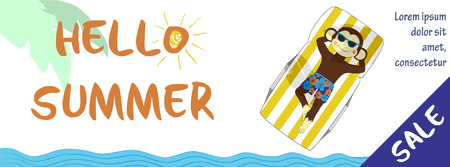 summer holidays: Summer sale banner design. One of a set - holidays banners. Can be used for banners or posters. Vector illustration with cute hand drawn monkey.
